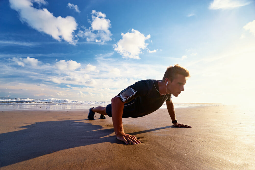 pushups on beach